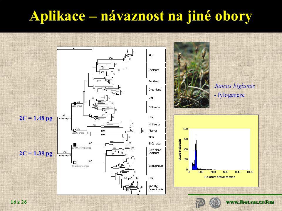www.ibot.cas.cz/fcm 16 z 26 Aplikace – návaznost na jiné obory Juncus biglumis - fylogeneze 2C = 1.48 pg 2C = 1.39 pg