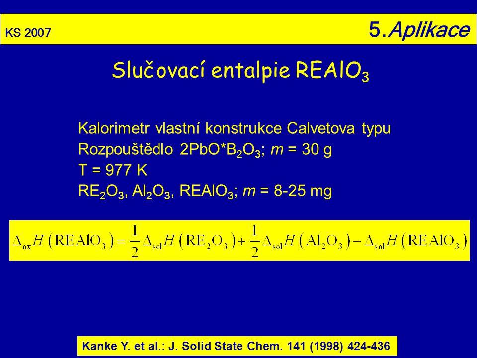KS 2007 5.Aplikace Slučovací entalpie REAlO 3 Kanke Y. et al.: J. Solid State Chem. 141 (1998) 424-436 Kalorimetr vlastní konstrukce Calvetova typu Ro