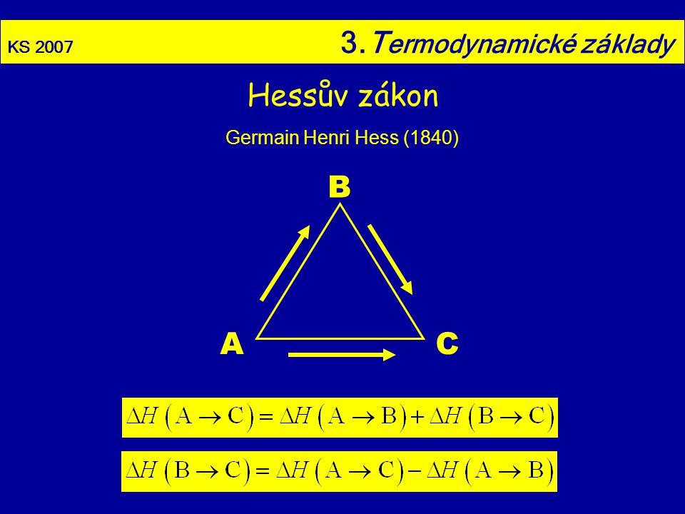 KS 2007 3.T ermodynamické základy Hessův zákon Germain Henri Hess (1840) A B C