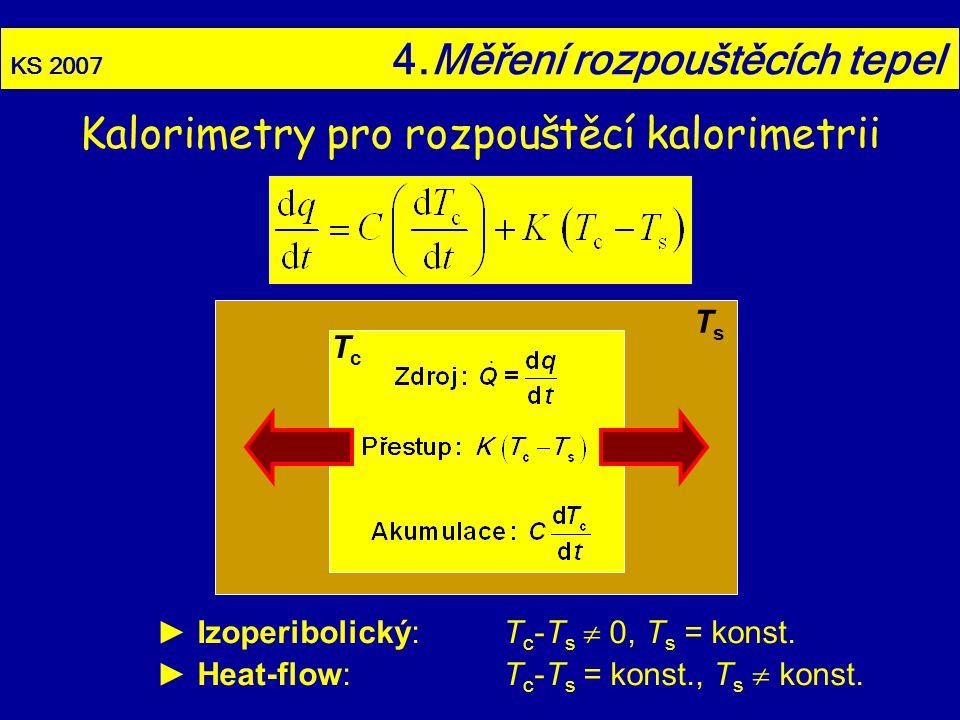 KS 2007 4.Měření rozpouštěcích tepel ► Izoperibolický:T c -T s  0, T s = konst. ► Heat-flow:T c -T s = konst., T s  konst. TsTs TcTc Kalorimetry pro