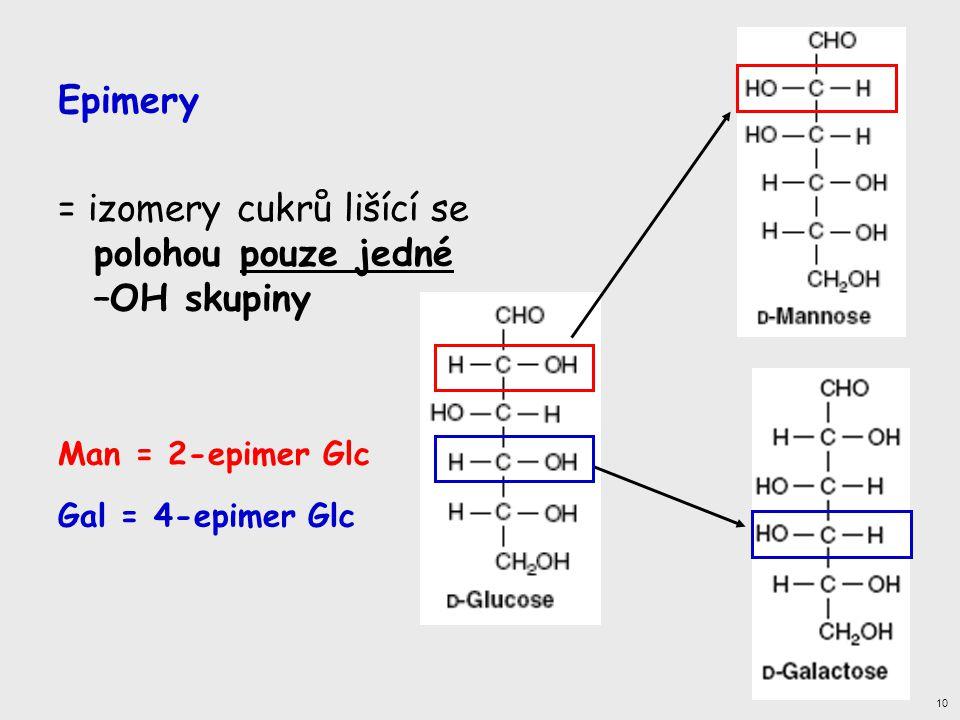 Epimery = izomery cukrů lišící se polohou pouze jedné –OH skupiny Man = 2-epimer Glc Gal = 4-epimer Glc 10