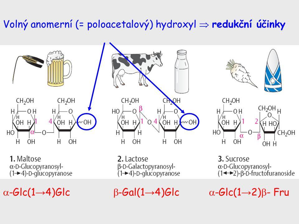  -Glc(1 → 4)Glc  - Gal(1 → 4)Glc  -Glc(1 → 2)  - Fru Volný anomerní (= poloacetalový) hydroxyl  redukční účinky