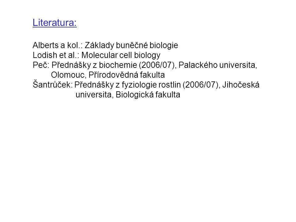 Literatura: Alberts a kol.: Základy buněčné biologie Lodish et al.: Molecular cell biology Peč: Přednášky z biochemie (2006/07), Palackého universita, Olomouc, Přírodovědná fakulta Šantrůček: Přednášky z fyziologie rostlin (2006/07), Jihočeská universita, Biologická fakulta