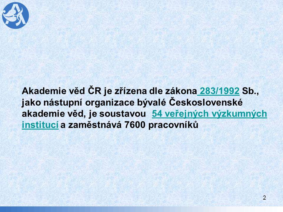 2 Akademie věd ČR je zřízena dle zákona 283/1992 Sb., 283/1992 jako nástupní organizace bývalé Československé akademie věd, je soustavou 54 veřejných výzkumných institucí a zaměstnává 7600 pracovníků54 veřejných výzkumných institucí
