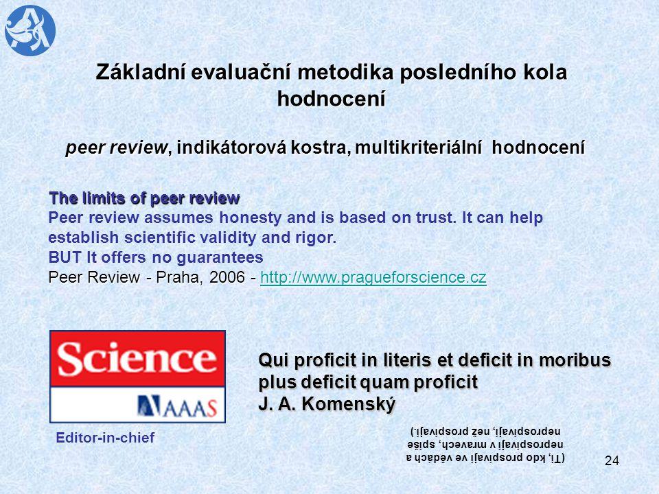 24 Základní evaluační metodika posledního kola hodnocení peer review, indikátorová kostra, multikriteriální hodnocení The limits of peer review Peer review assumes honesty and is based on trust.