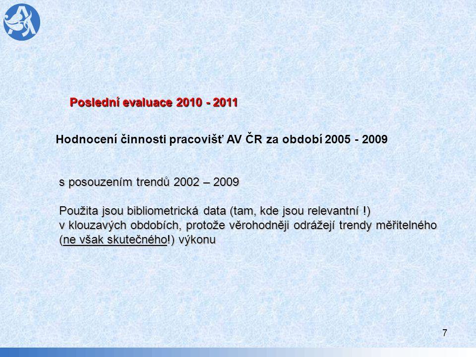 8 Proč hodnocení pracovišť AV v roce 2010 - 2011 i)posoudit vývoj vědecké a odborné výkonnosti pracovišť a jejich vědeckých pracovních útvarů a s tím souvisejících činností na základě dosahovaných výsledků, aktuálních trendů světové vědy a společensko- ekonomických preferencí pomocí systému peer review a multikriteriálního hodnocení v zájmu trvalého důrazu na budování kompetence, zvyšování kvality vědecké práce a na posilování mezinárodní konkurenceschopnosti pracovišť včetně kvalitního naplňování dalších funkcí AV ČR daných příslušnými legislativními předpisy.