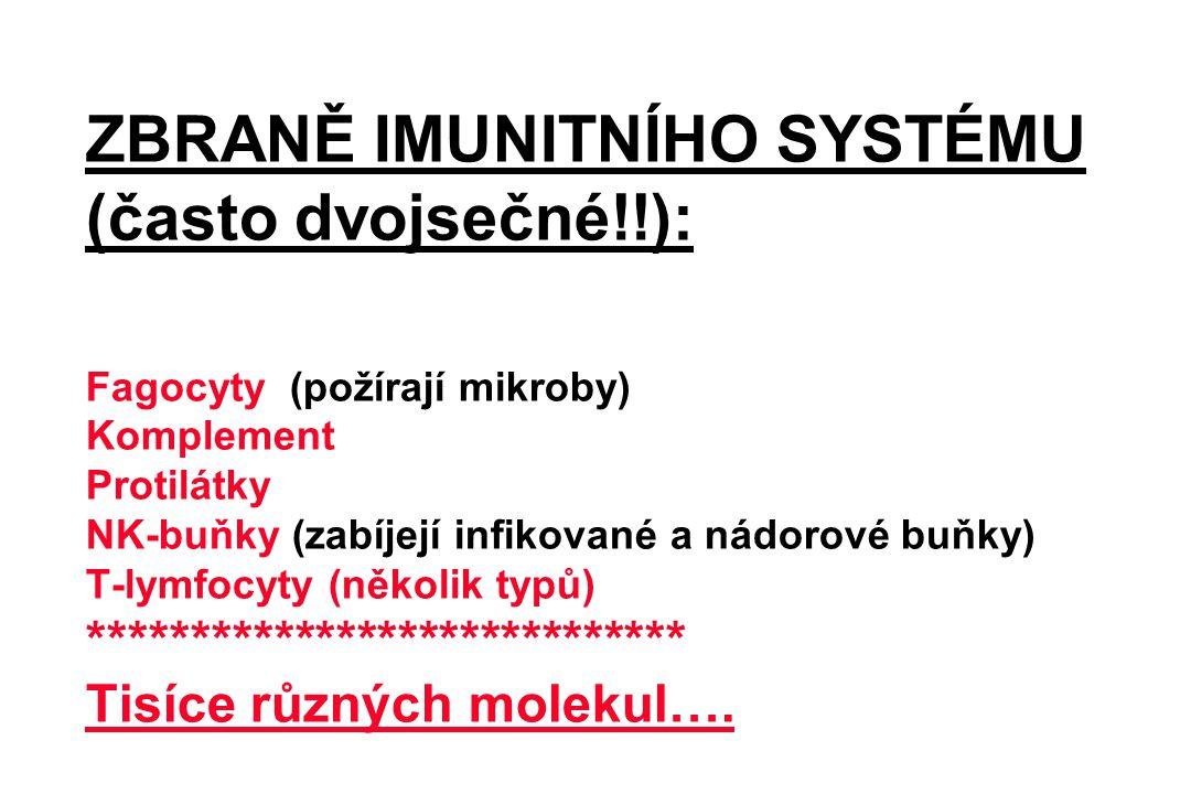 ZBRANĚ IMUNITNÍHO SYSTÉMU (často dvojsečné!!): Fagocyty (požírají mikroby) Komplement Protilátky NK-buňky (zabíjejí infikované a nádorové buňky) T-lym