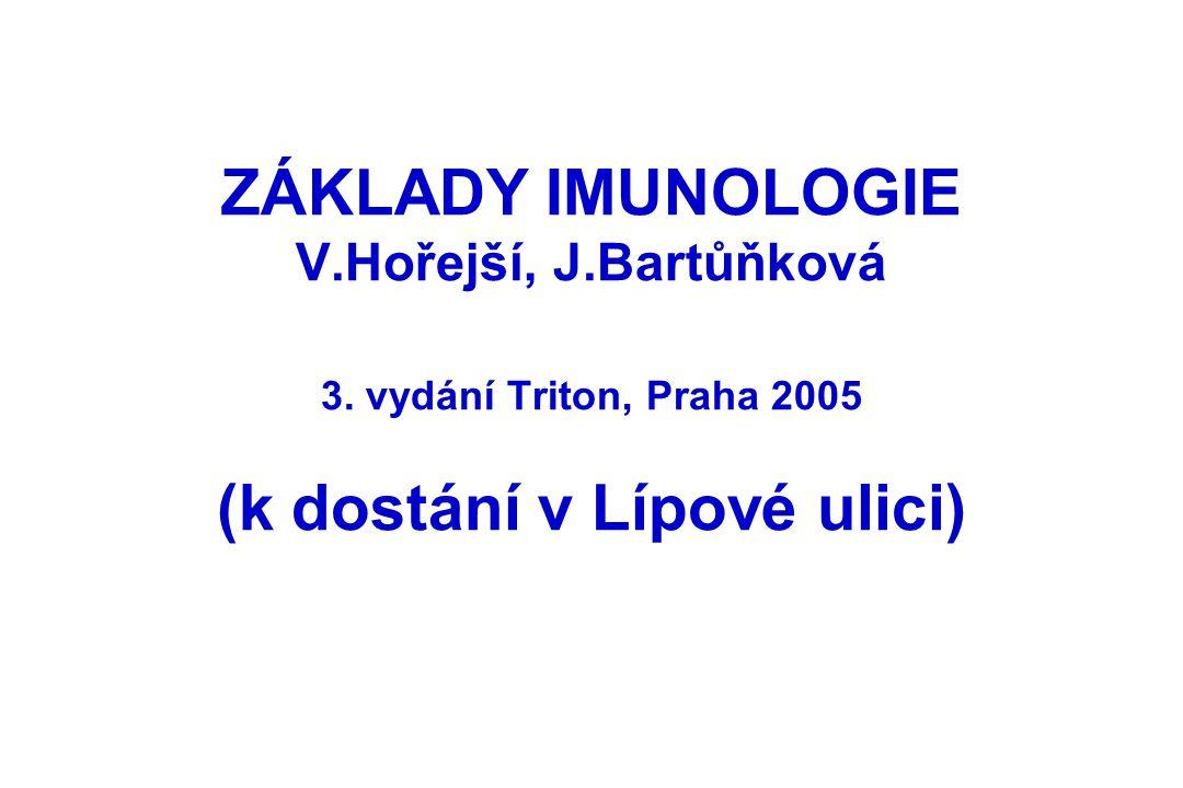 ZÁKLADY IMUNOLOGIE V.Hořejší, J.Bartůňková 3. vydání Triton, Praha 2005 (k dostání v Lípové ulici)