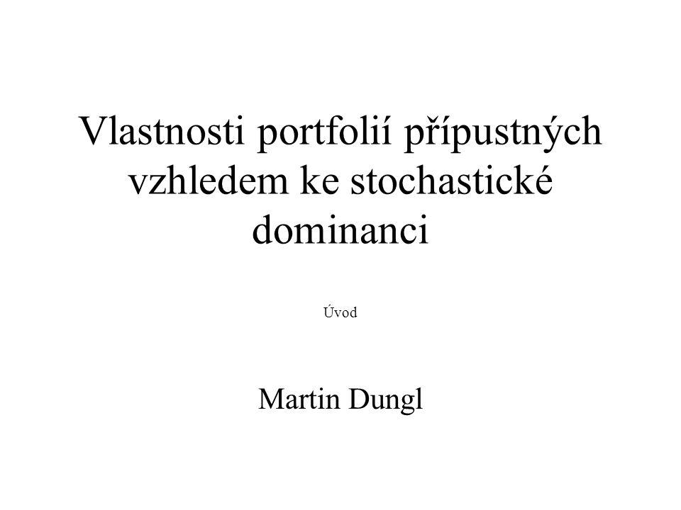 Pojmy Portfolio = množina finančních aktiv (akcie, dluhopisy, …) Výnos portfolia je náhodná veličina Investor vybírá portfolio, aby maximalizoval očekávaný výnos a minimalizoval riziko Očekávaný výnos odpovídá střední hodnotě výnosu