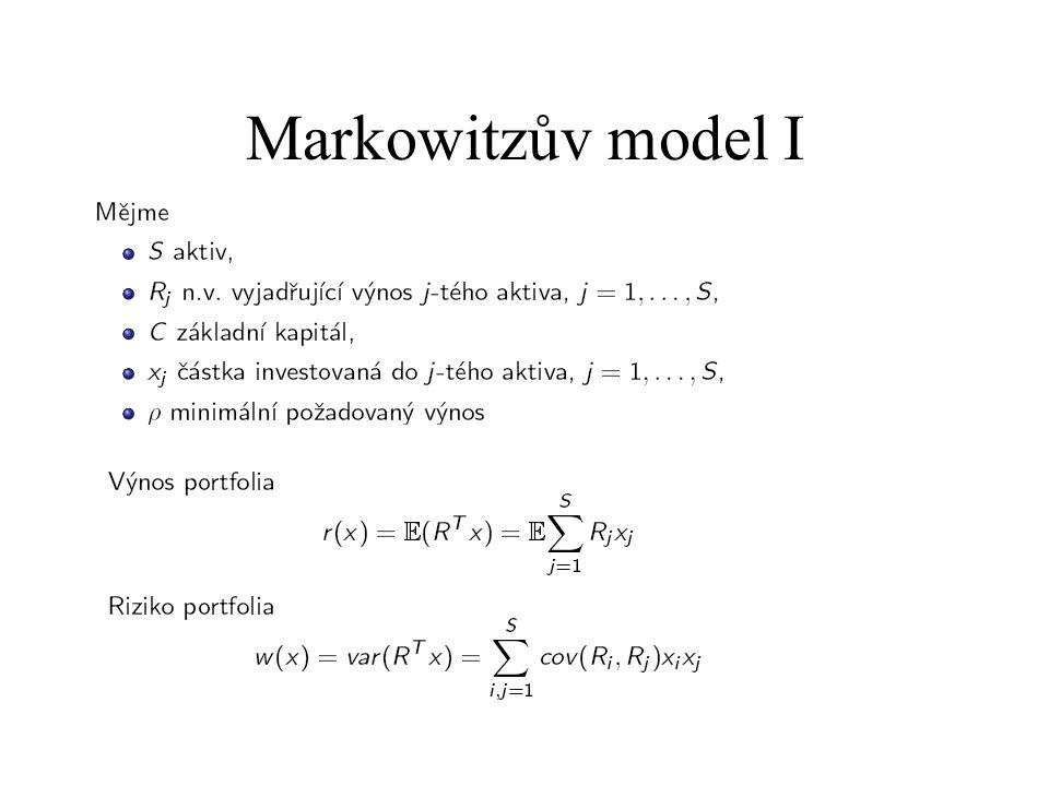Markowitzův model II Řešíme úlohu max r(x) – k.