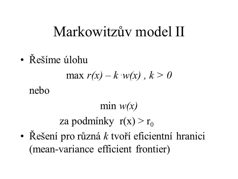Markowitzův model II Řešíme úlohu max r(x) – k. w(x), k > 0 nebo min w(x) za podmínky r(x) > r 0 Řešení pro různá k tvoří eficientní hranici (mean-var