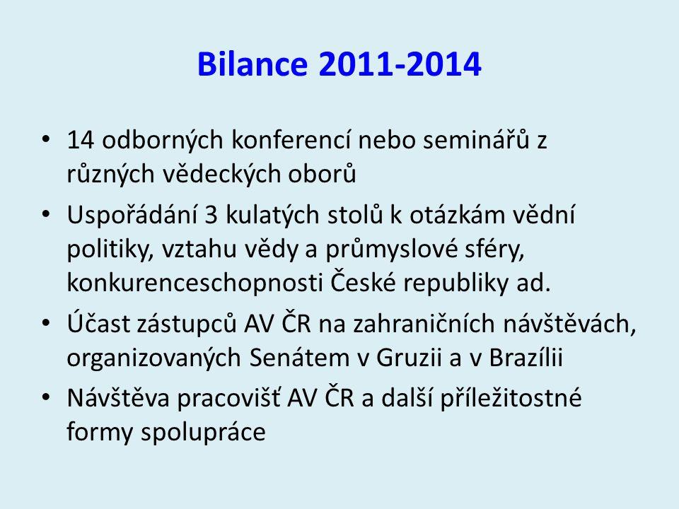 Bilance 2011-2014 14 odborných konferencí nebo seminářů z různých vědeckých oborů Uspořádání 3 kulatých stolů k otázkám vědní politiky, vztahu vědy a průmyslové sféry, konkurenceschopnosti České republiky ad.