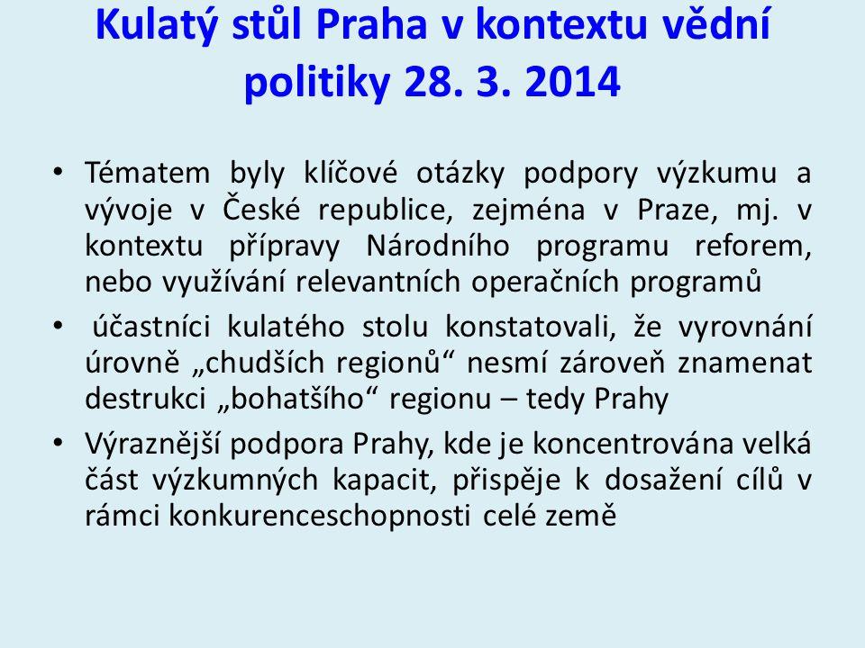 Kulatý stůl Praha v kontextu vědní politiky 28. 3. 2014 Tématem byly klíčové otázky podpory výzkumu a vývoje v České republice, zejména v Praze, mj. v