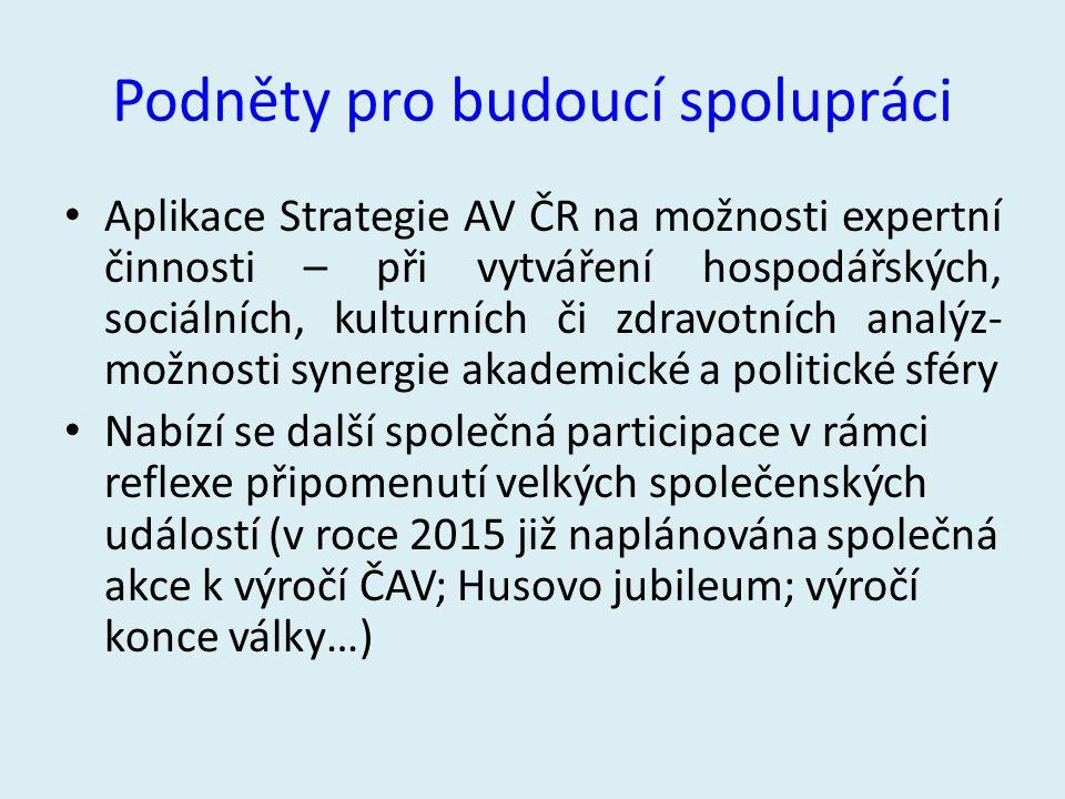 Podněty pro budoucí spolupráci Aplikace Strategie AV ČR na možnosti expertní činnosti – při vytváření hospodářských, sociálních, kulturních či zdravot