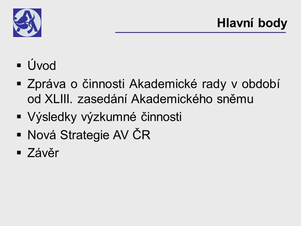 Hodnocení výzkumné činnosti pracovišť AV ČR v r.