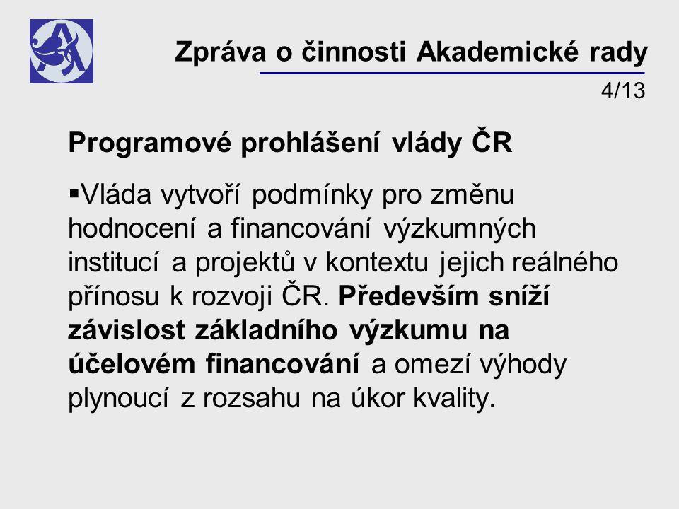 Programové prohlášení vlády ČR  Vláda vytvoří podmínky pro změnu hodnocení a financování výzkumných institucí a projektů v kontextu jejich reálného přínosu k rozvoji ČR.