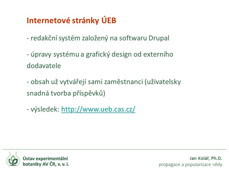 Jan Kolář, Ph.D. propagace a popularizace vědy Internetové stránky ÚEB - redakční systém založený na softwaru Drupal - úpravy systému a grafický desig