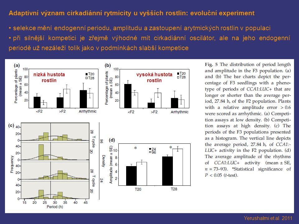 Adaptivní význam cirkadiánní rytmicity u vyšších rostlin: evoluční experiment selekce mění endogenní periodu, amplitudu a zastoupení arytmických rostlin v populaci při silnější kompetici je zřejmě výhodné mít cirkadiánní oscilátor, ale na jeho endogenní periodě už nezáleží tolik jako v podmínkách slabší kompetice Yerushalmi et al.