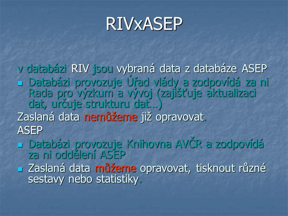 RIVxASEP v databázi RIV jsou vybraná data z databáze ASEP Databázi provozuje Úřad vlády a zodpovídá za ni Rada pro výzkum a vývoj (zajišťuje aktualizaci dat, určuje strukturu dat…) Databázi provozuje Úřad vlády a zodpovídá za ni Rada pro výzkum a vývoj (zajišťuje aktualizaci dat, určuje strukturu dat…) Zaslaná data nemůžeme již opravovat.