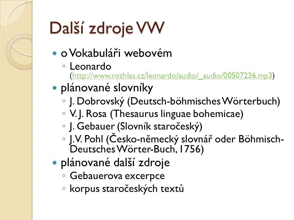 Další zdroje VW o Vokabuláři webovém ◦ Leonardo (http://www.rozhlas.cz/leonardo/audio/_audio/00507236.mp3)http://www.rozhlas.cz/leonardo/audio/_audio/00507236.mp3 plánované slovníky ◦ J.