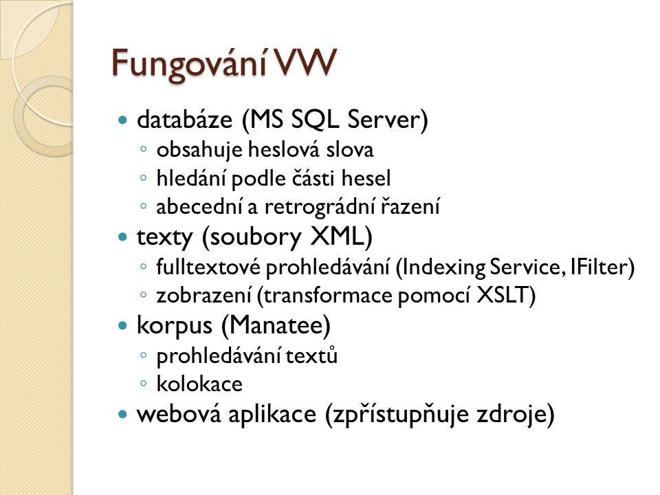 Fungování VW databáze (MS SQL Server) ◦ obsahuje heslová slova ◦ hledání podle části hesel ◦ abecední a retrográdní řazení texty (soubory XML) ◦ fulltextové prohledávání (Indexing Service, IFilter) ◦ zobrazení (transformace pomocí XSLT) korpus (Manatee) ◦ prohledávání textů ◦ kolokace webová aplikace (zpřístupňuje zdroje)