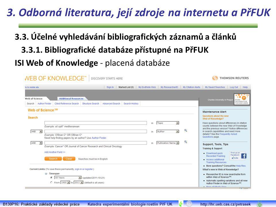 3.3. Účelné vyhledávání bibliografických záznamů a článků 3.3.1.