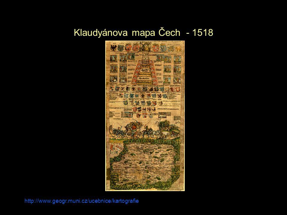 http://www.geogr.muni.cz/ucebnice/kartografie Klaudyánova mapa Čech - 1518