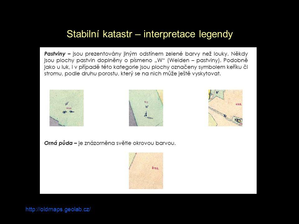 http://oldmaps.geolab.cz/ Stabilní katastr – interpretace legendy
