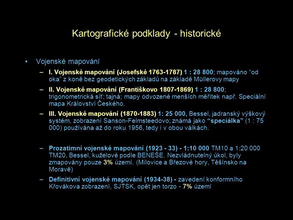 Kartografické podklady - historické Vojenské mapování –I.