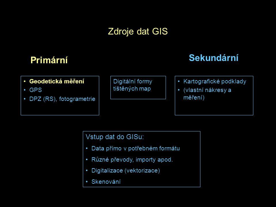 Zdroje dat GIS Geodetická měření GPS DPZ (RS), fotogrametrie Kartografické podklady (vlastní nákresy a měření) Primární Sekundární Digitální formy tištěných map Vstup dat do GISu: Data přímo v potřebném formátu Různé převody, importy apod.