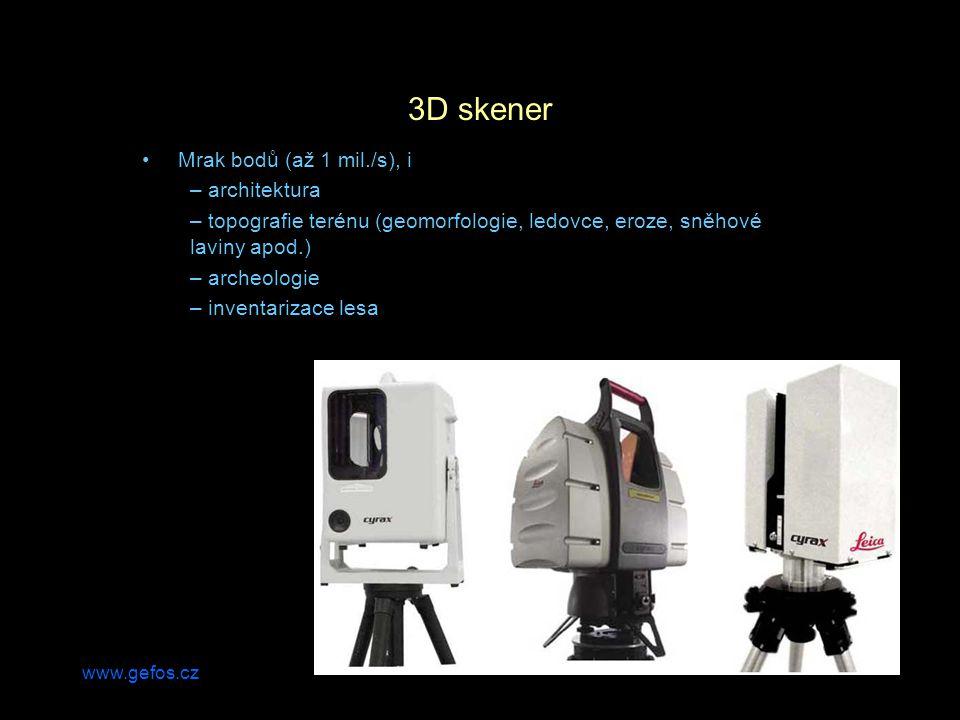 www.gefos.cz 3D skener Mrak bodů (až 1 mil./s), i – architektura – topografie terénu (geomorfologie, ledovce, eroze, sněhové laviny apod.) – archeologie – inventarizace lesa