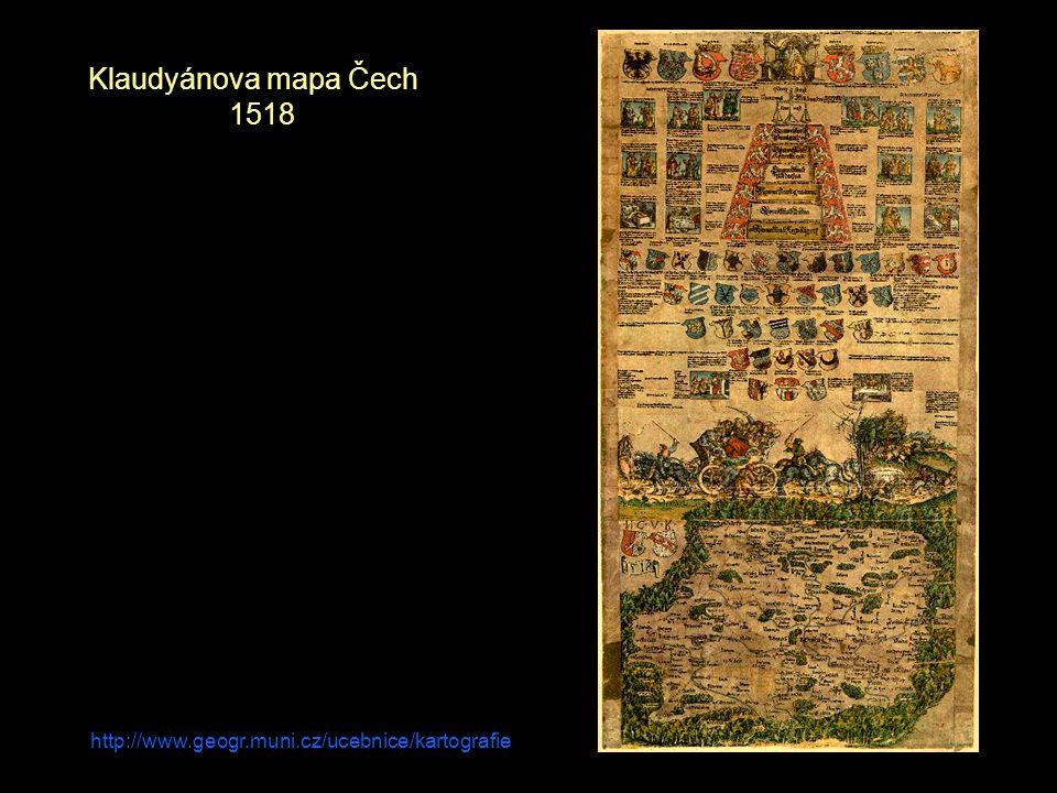 http://www.geogr.muni.cz/ucebnice/kartografie Klaudyánova mapa Čech 1518