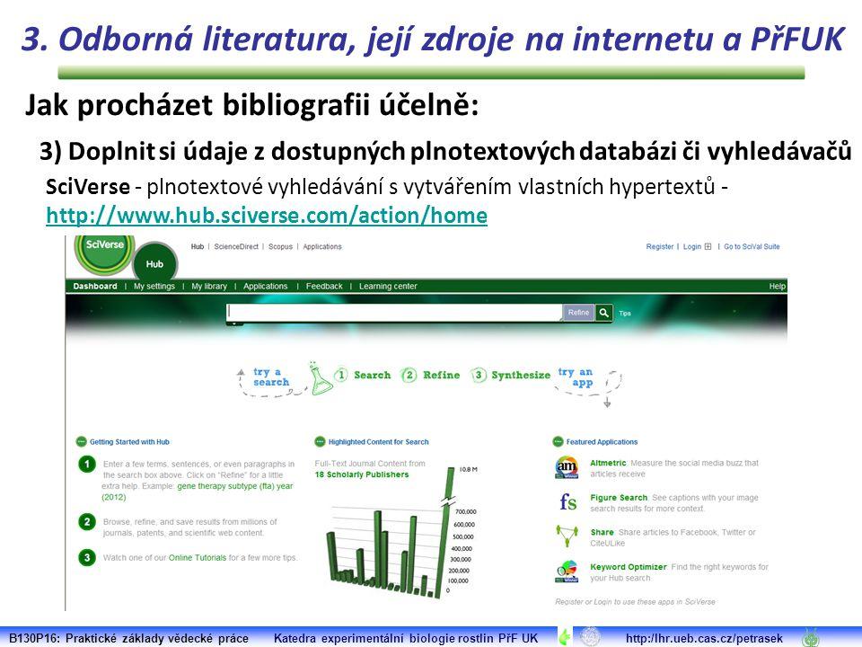 B130P16: Praktické základy vědecké práce Katedra experimentální biologie rostlin PřF UK http:/lhr.ueb.cas.cz/petrasek SciVerse - plnotextové vyhledávání s vytvářením vlastních hypertextů - http://www.hub.sciverse.com/action/home http://www.hub.sciverse.com/action/home 3.
