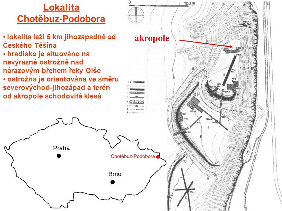 Lokalita Chotěbuz-Podobora lokalita leží 5 km jihozápadně od Českého Těšína hradisko je situováno na nevýrazné ostrožně nad nárazovým břehem řeky Olše