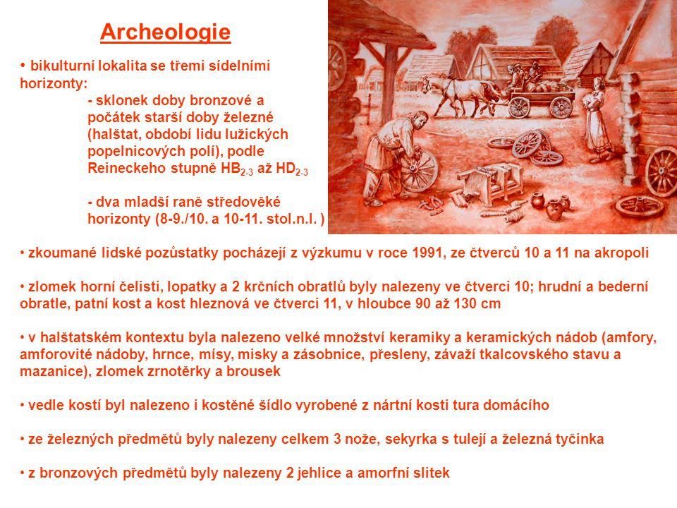 Archeologie bikulturní lokalita se třemi sídelními horizonty: - sklonek doby bronzové a počátek starší doby železné (halštat, období lidu lužických po