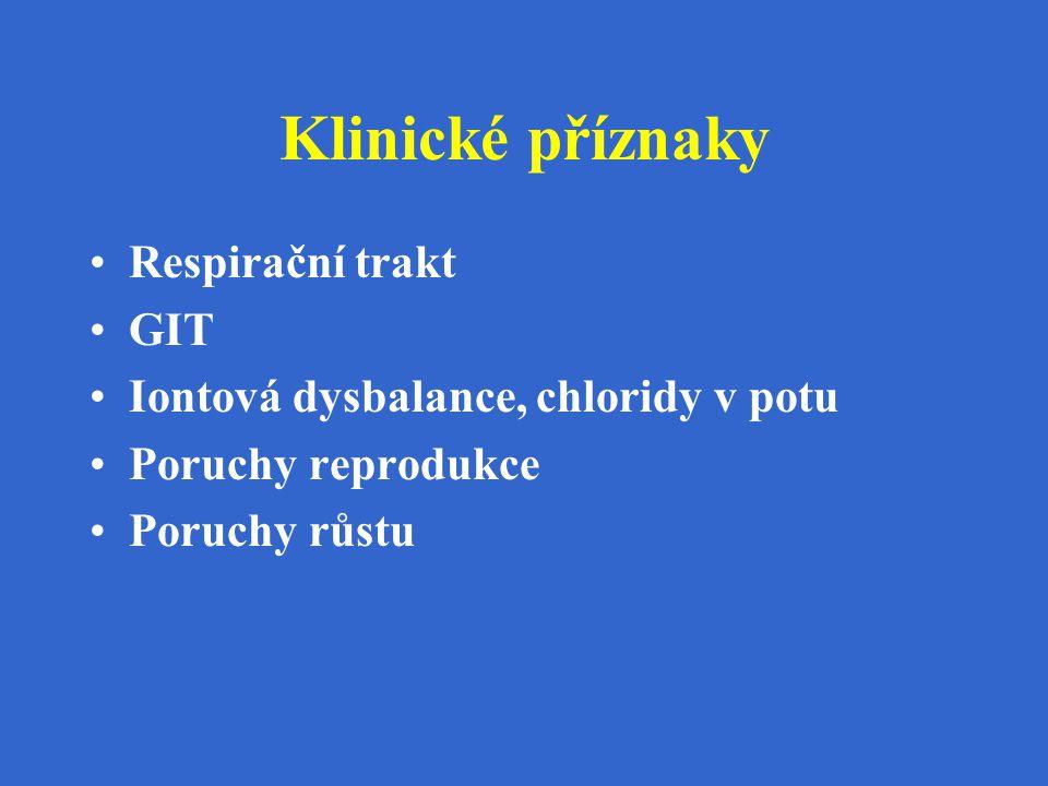 Klinické příznaky Respirační trakt GIT Iontová dysbalance, chloridy v potu Poruchy reprodukce Poruchy růstu