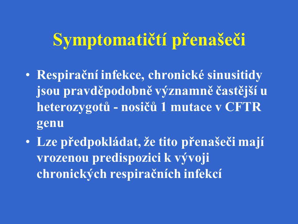 Symptomatičtí přenašeči Respirační infekce, chronické sinusitidy jsou pravděpodobně významně častější u heterozygotů - nosičů 1 mutace v CFTR genu Lze
