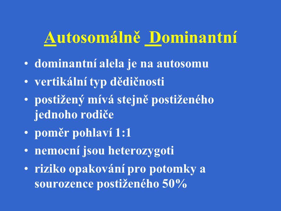 Autosomálně Dominantní dominantní alela je na autosomu vertikální typ dědičnosti postižený mívá stejně postiženého jednoho rodiče poměr pohlaví 1:1 ne