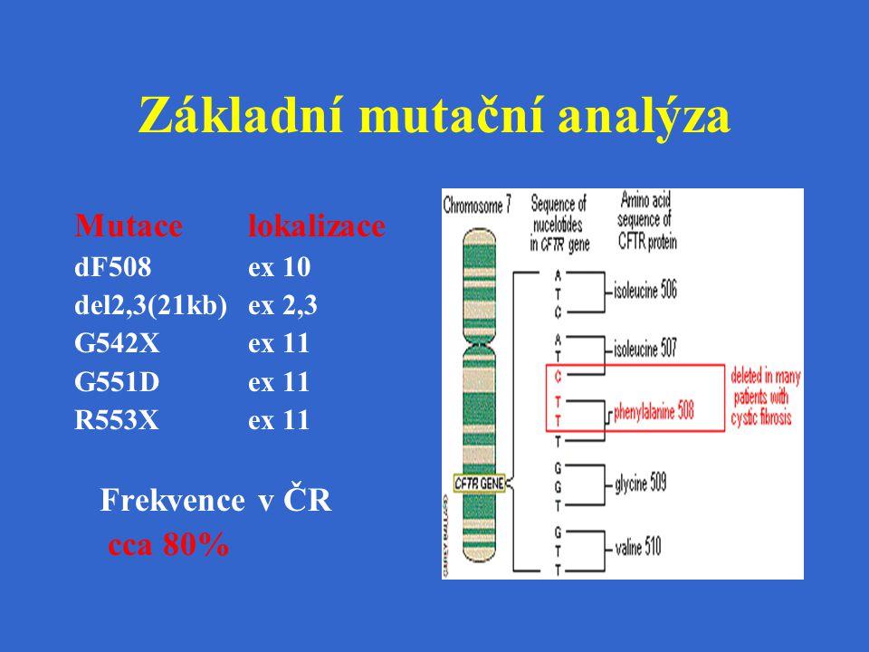 Základní mutační analýza Mutacelokalizace dF508ex 10 del2,3(21kb)ex 2,3 G542Xex 11 G551Dex 11 R553Xex 11 Frekvence v ČR cca 80%