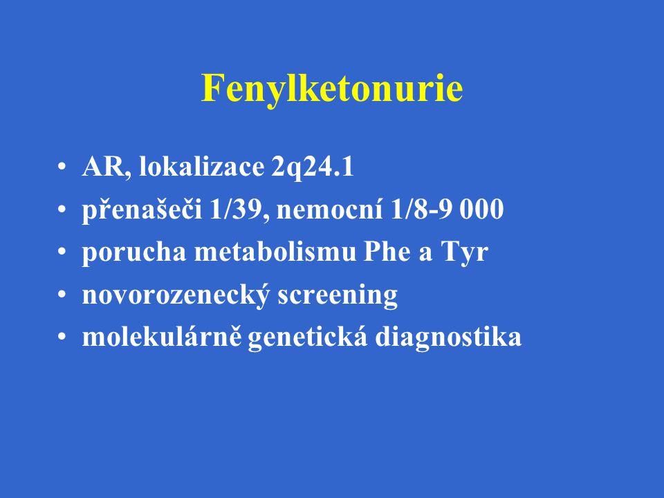 Fenylketonurie AR, lokalizace 2q24.1 přenašeči 1/39, nemocní 1/8-9 000 porucha metabolismu Phe a Tyr novorozenecký screening molekulárně genetická dia
