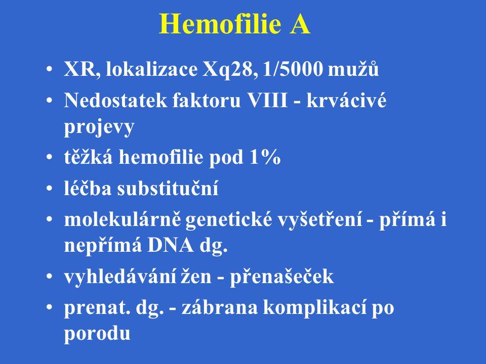 Hemofilie A XR, lokalizace Xq28, 1/5000 mužů Nedostatek faktoru VIII - krvácivé projevy těžká hemofilie pod 1% léčba substituční molekulárně genetické