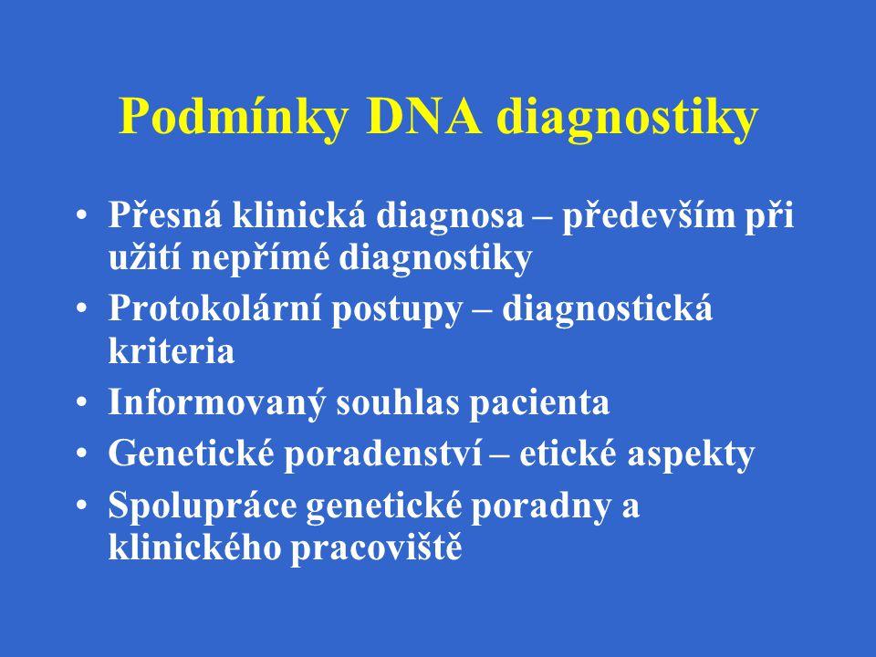 Podmínky DNA diagnostiky Přesná klinická diagnosa – především při užití nepřímé diagnostiky Protokolární postupy – diagnostická kriteria Informovaný s