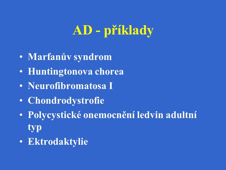 AD - příklady Marfanův syndrom Huntingtonova chorea Neurofibromatosa I Chondrodystrofie Polycystické onemocnění ledvin adultní typ Ektrodaktylie