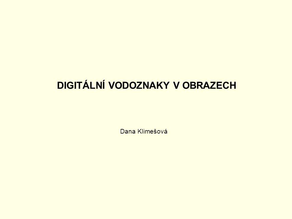 Digitální vodoznak (digital watermark) Existují tři typy digitálních vodoznaků: viditelný, neviditelný robustní a neviditelný křehký.