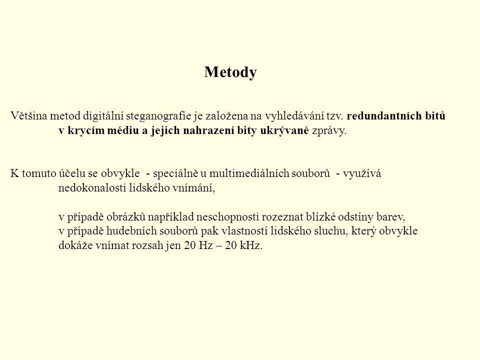 Metody Většina metod digitální steganografie je založena na vyhledávání tzv. redundantních bitů v krycím médiu a jejich nahrazení bity ukrývané zprávy