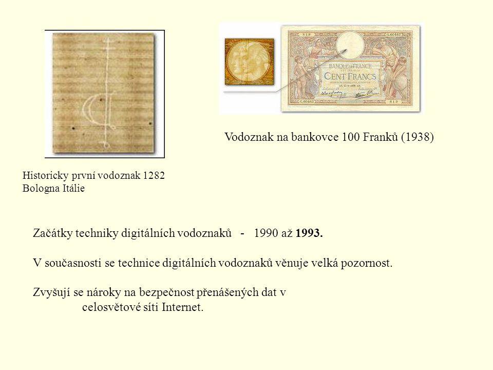 Historicky první vodoznak 1282 Bologna Itálie Vodoznak na bankovce 100 Franků (1938) Začátky techniky digitálních vodoznaků - 1990 až 1993. V současno