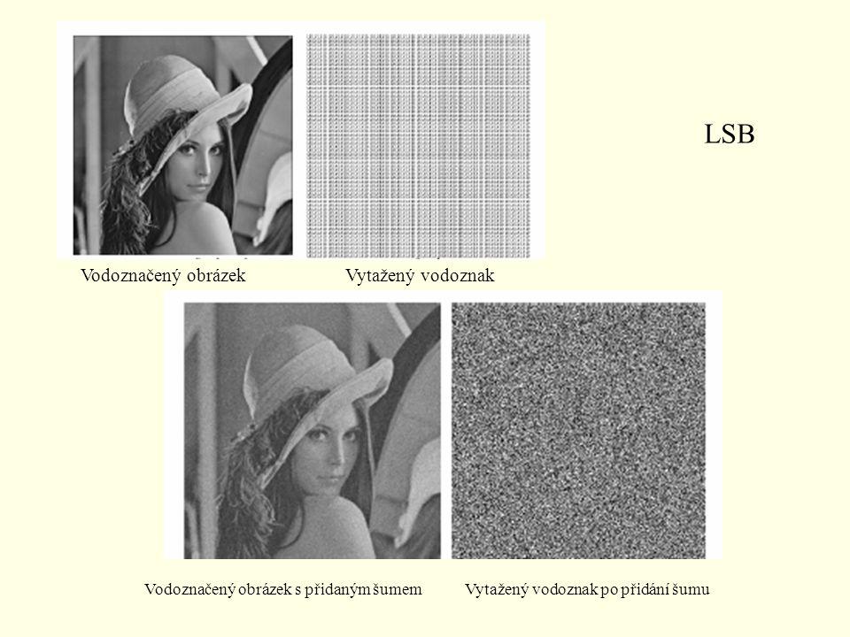 LSB Vodoznačený obrázekVytažený vodoznak Vodoznačený obrázek s přidaným šumem Vytažený vodoznak po přidání šumu