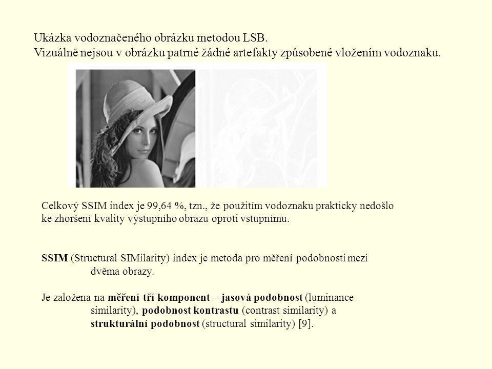 Ukázka vodoznačeného obrázku metodou LSB. Vizuálně nejsou v obrázku patrné žádné artefakty způsobené vložením vodoznaku. Celkový SSIM index je 99,64 %
