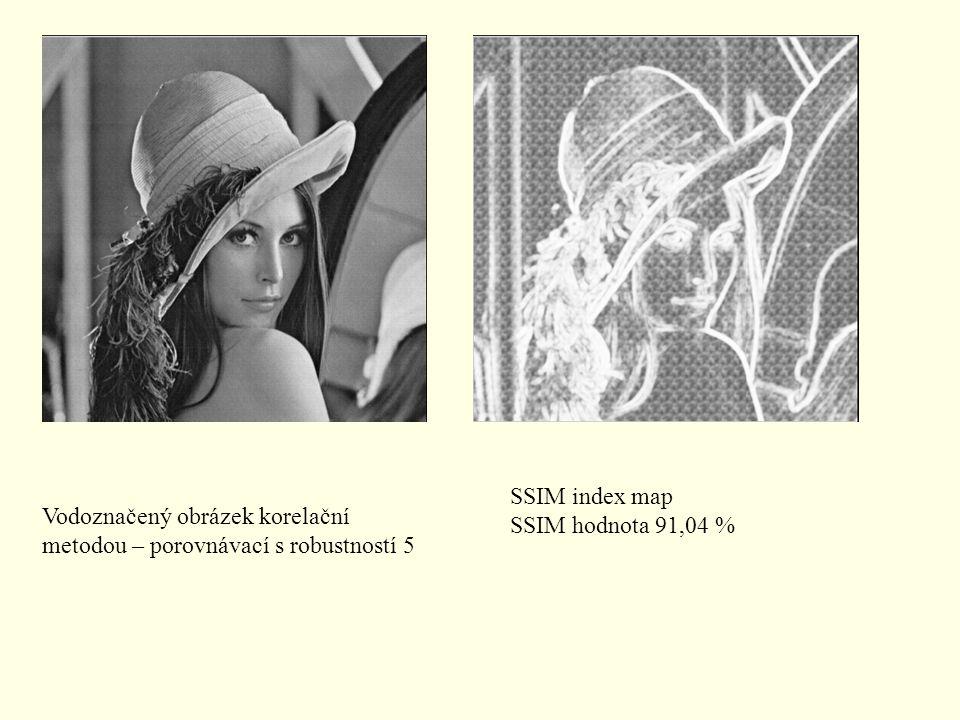 Vodoznačený obrázek korelační metodou – porovnávací s robustností 5 SSIM index map SSIM hodnota 91,04 %