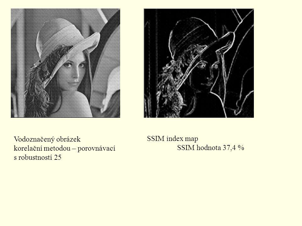 Vodoznačený obrázek korelační metodou – porovnávací s robustností 25 SSIM index map SSIM hodnota 37,4 %